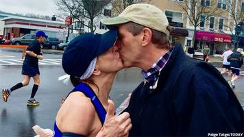 Woman who kissed stranger at Boston Marathon hears from his wife